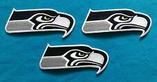 """3 Lot SEATTLE SEAHAWKS big 4""""  Embroidered Iron Or Sewn On Patches W/ FREE SHIP"""