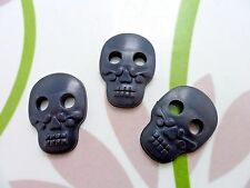 24pcs Novelty Button Big Sugar Skull and Day of the Dead Holes Black