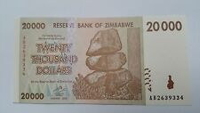 20 THOUSAND ZIMBABWE DOLLARS UNC