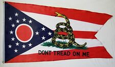 Don't Tread On Me Ohio Gadsden Flag 3' x 5' Gun Right USA Freedom Banner