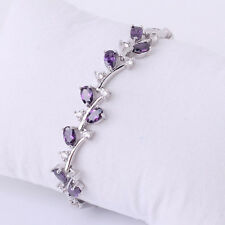 "Gorgeous 18k white gold filled oval purple topaz lady chain bracelet 7"" 10.1g"