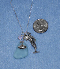 "18"" Sterling Silver Beach Jewelry Surf Tumbled Sea Glass Mermaid Necklace wPearl"