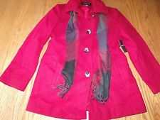 NWT Womens LONDON FOG WOOL Coat TRENCH PEACOAT RED BLACK SCARF X-LARGE XL