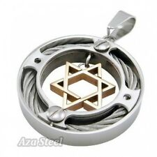 "Men's Silver Gold Star Of David Steel Pendant with 21"" Chain Necklace"