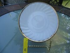 Vintage FIRE-KING White/Gold Swirl-Shell Saucer