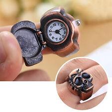 Convenient Men Skull Finger Ring Watch Cool Punk Quartz Clamshell Ring Watch