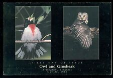 USA #2284-5 25c Owl & Grosbeak Stamps USPS First Day Ceremony Program