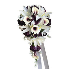 Cascade Wedding Bouquet - Plum Purple and Ivory Artificial Flowers