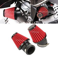 2x 48MM Red Air Intake Filter Pod 45 Degree Bend For Motorcycle Scooter ATV New