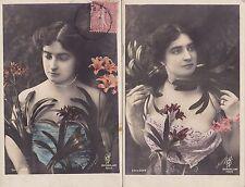 2 x Antique PCs - Bohemian Beauty - Exotic Flowers - Glamour - H.Manuel, Paris