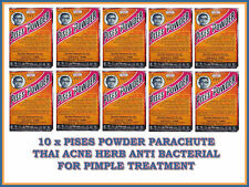 10 x PISES POWDER PARACHUTE THAI ACNE HERB ANTI BACTERIAL FOR PIMPLE TREATMENT