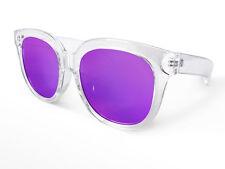 Classic Wayfarer Sunglasses Purple Tinted Lens, Clear Frame + Soft Pouch & Cloth