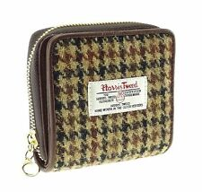 Ladies Authentic Harris Tweed And Leather Small Purse Brown Dogtooth COL 27