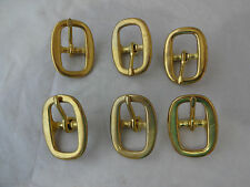 "Lot 6 Solid Brass Oval Buckles 5/8"" Horse Tack Halter Hardware Straps Nw Western"
