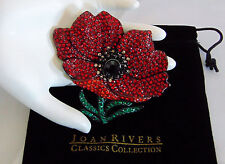 "RARE Joan Rivers LG 3"" RED POPPY FLOWER BROOCH Pin Pave Crystal Rhinestones NEW!"