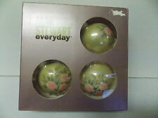 Martha Stewart Glass Decorated Floral Ball Ornaments S/4 Pink & Ivory