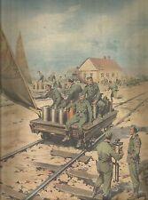 K0973 Soldati tedeschi su carro ferroviario trainato dal vento - Stampa antica