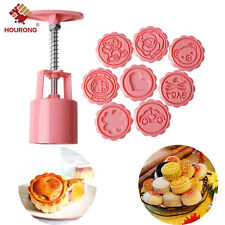 New Round Baking Mooncake DIY Mold Pastry Biscuit Cake Mould Cartoon + 8 Stamps