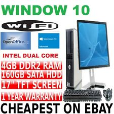 COMPLETO Dell Dual Core Desktop Tower PC e TFT Computer con Windows 10 & Wifi & 4gb