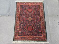 Old Traditional Machine Made Persian Design Rug Wool Navy Blue Small Rug 90x67cm