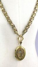 Antique Victorian 3 Color Gold Front Book Chain Necklace Locket VERY RARE