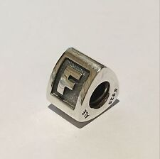 Authentic Pandora Sterling Silver Letter Charm 790323F Retired & Rare