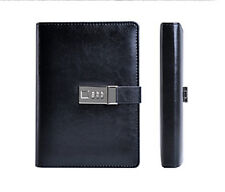Business Black Leather Diaries Journal Notebook Secret Diary with Lock Password