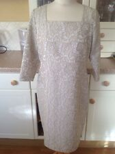 GREAT ALLEGRA HICK BEIGE & CREAM SHIFT DRESS UK SIZE 14 BNWT SLIGHT DEFECT