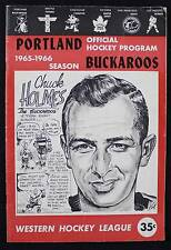 1965-66 Portland Buckaroos vs Baltimore Clippers Hockey -Prog.-WHL-CHUCK HOLMES