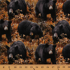 Big Ben Black Bear Woods Hunting Fall Nature Cotton Fabric Print by Yard D465.18
