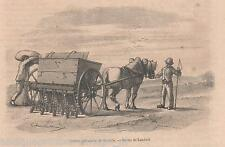 Antique print Hornsby machine Sowing / seeding crop seeder 1859 farming farmers