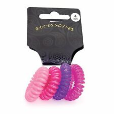 4 Mini Pinks Telephone Cord Coil Hair Elastics Bobbles Ponio Bands Accessories