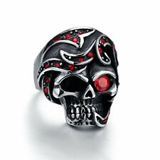 New Stainless Steel Skull Biker Ring Red CZ Stones Inlay Men's Jewelry Size 8-12