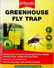 Pack of 6 Greenhouse Insect Yellow Sticky Fly Traps Rentokil Greenfly Whitefly