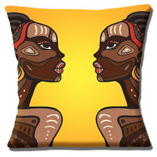 "AFRICAN TRIBAL LADIES ORANGE YELLOW BROWN SHADES PRINT 16"" Pillow Cushion Cover"