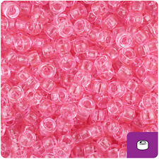 1000 Pink Transparent 7mm Mini Barrel Plastic Pony Beads Made in the USA