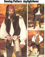 Men Pirates Caribbean Costume Sewing Pattern 4923 Jack Sparrow Size XS-M