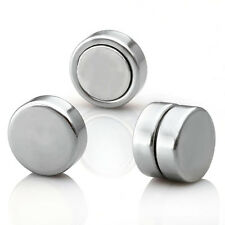 2Pair Stainless Stee Magnet Clip on Stud Earrings Fake Ear Plugs Non Piercing