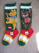 Nancy's Hand Knit Personalized Christmas Stocking - BEAR IN VEST