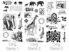 "GRAPHIC 45 ""SAFARI ADVENTURE"" CLING STAMPS 1 2 & 3 ANIMALS  SCRAPJACK'S PLACE"