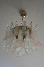 Pink & White Murano Glass/Crystal MAZZEGA Chandelier