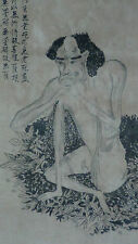 ANTIQUE CHINESE INK DRAWING WITH THE KNEELING MAN AND CALIGRAPHY,ARTIST SEAL