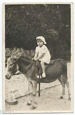 BM506 Carte Photo vintage card RPPC Animaux enfants bébé anes