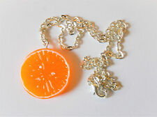 Orange Necklace Cute Retro Fruit Novelty Kitsch Kawaii Chain Charm Pendant Cool