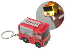 Red Fire Engine Truck Key Chain Ring with LED Light and Sound