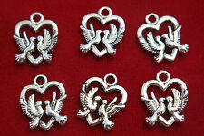 """10pc """"love birds"""" charms in antique silver style (BC350)"""