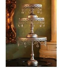 Set of 3 Antiqued Silver Metal & Crystal Chandelier Cake Cupcake Dessert Stands