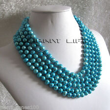 """100"""" 7-9mm Sky Blue Freshwater Pearl Necklace AC"""