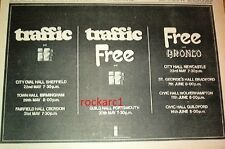 FREE (Rodgers/Kossoff) Free/Traffic Tour 1970 UK Press ADVERT 12x8 inches