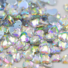 50 pcs x Sew On 10 mm Acrylic Rhinestones Clear AB Color Heart Shape